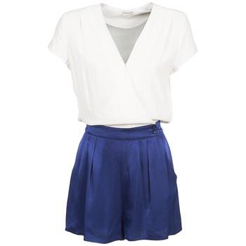 Textil Ženy Overaly / Kalhoty s laclem Naf Naf KLOVIS Bílá / Modrá