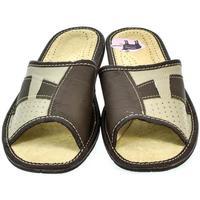 Boty Muži Papuče John-C Pánske kožené papuče AMOS hnedá