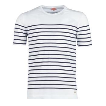 Textil Muži Trička s krátkým rukávem Armor Lux YAYALOUT Bílá / Tmavě modrá