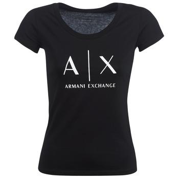 Textil Ženy Trička s krátkým rukávem Armani Exchange HELBATANTE Černá