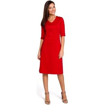 Textil Ženy Halenky / Blůzy Style S153 Šaty s výstřihem do V - červené