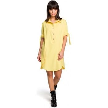 Textil Ženy Krátké šaty Be B112 Tunika s límcem a vázanými rukávy - žlutá