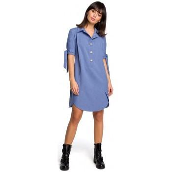 Textil Ženy Šaty Be B112 Tunika s límcem a vázanými rukávy - modrá
