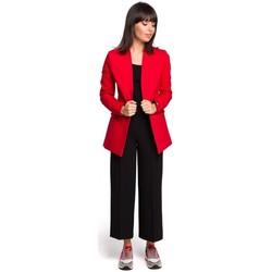 Textil Ženy Šaty Be B103 Bavlněné otevřené sako plus size - červené