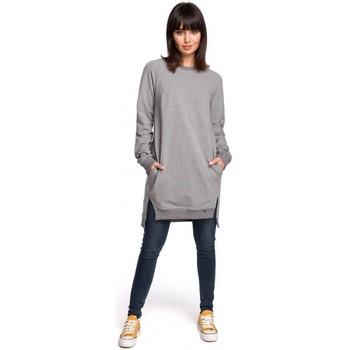 Textil Ženy Šaty Be B101 Tunika nadměrné velikosti s dělenými boky - šedá