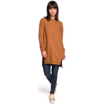 Textil Ženy Šaty Be B101 Tunika nadměrné velikosti s dělenými boky - karamelová
