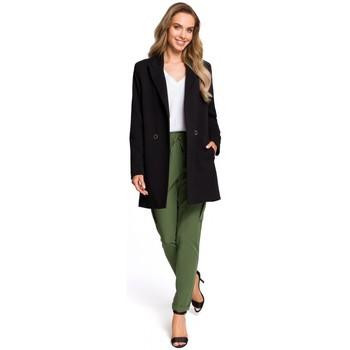 Textil Ženy Sukně Moe M429 Dlouhé sako s dvojitými prsy - černé