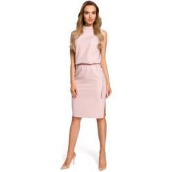 Textil Ženy Šaty Moe M423 Blůzové šaty s rozdělenými zády - pudrové
