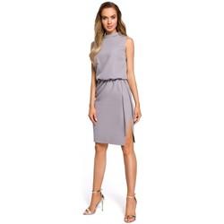 Textil Ženy Šaty Moe M423 Blůzové šaty s rozparkem na zádech - šedé