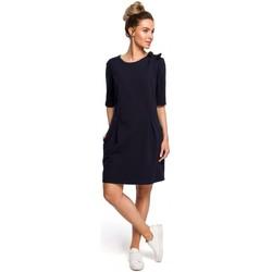Textil Ženy Halenky / Blůzy Moe M422 Šaty se spadlým pasem a mašlí - tmavě modré