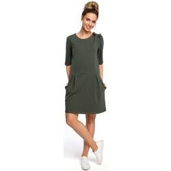 Textil Ženy Krátké šaty Moe M422 Šaty se spadlým pasem a mašlí - vojensky zelené