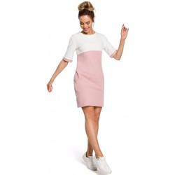 Textil Ženy Šaty Moe M418 Šaty Colorblock - pudrová + ecru barva