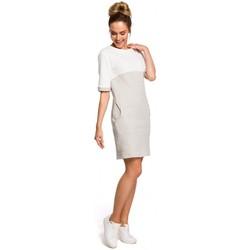 Textil Ženy Šaty Moe M418 Šaty Colorblock - světle šedá + ecru