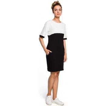Textil Ženy Šaty Moe M418 Šaty Colorblock - černá + ecru