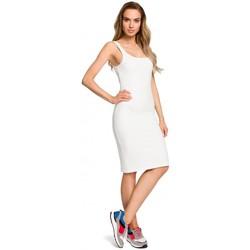 Textil Ženy Šaty Moe M414 Šaty s tlustými ramínky - ecru barva