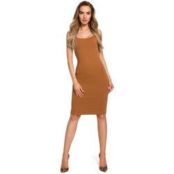 Textil Ženy Šaty Moe M414 Šaty s tlustými ramínky - karamelové