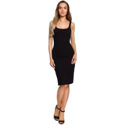 Textil Ženy Šaty Moe M414 Šaty s tlustými ramínky - černé