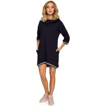 Textil Ženy Halenky / Blůzy Moe M401 Tunika s kapucí - tmavě modrá