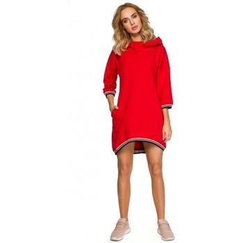 Textil Ženy Krátké šaty Moe M401 Tunika s kapucí - červená