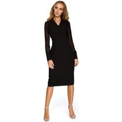 Textil Ženy Tuniky Style S136 Šifonové pouzdrové šaty s rukávy - černé