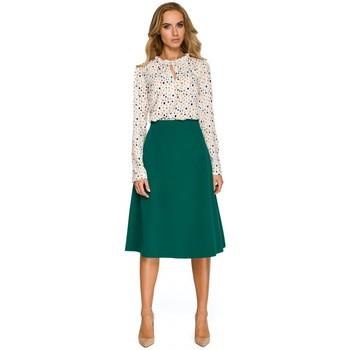 Textil Ženy Mikiny Style S134 Halenka s volánkem a zavazováním u krku - ecru barva