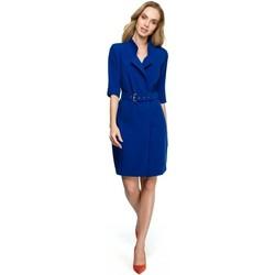 Textil Ženy Šaty Style S120 Šaty s límečkem a páskem - královská modř