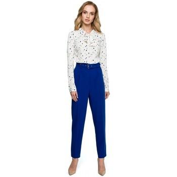 Textil Ženy Šaty Style S124 Kalhoty s páskem - královská modř