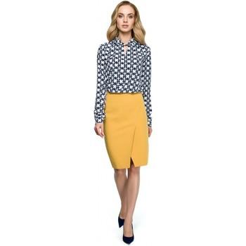 Textil Ženy Halenky / Blůzy Style S127 Zavinovací tužková sukně - žlutá