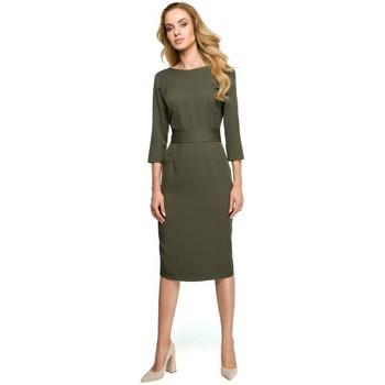 Textil Ženy Šaty Style S119 Jednobarevné šaty na knoflíky - khaki barva