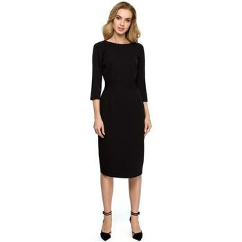 Textil Ženy Krátké šaty Style S119 Jednoduché šaty na knoflíky - černé