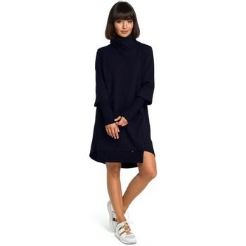 Textil Ženy Šaty Be B089 Asymetrické šaty s rolovaným výstřihem - tmavě modré