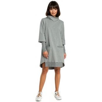 Textil Ženy Šaty Be B089 Šaty s asymetrickým výstřihem - šedé