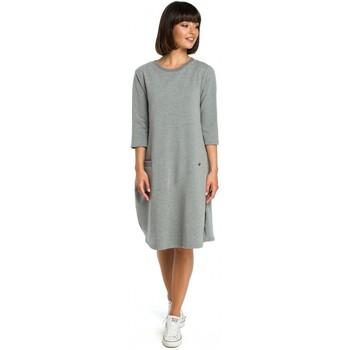 Textil Ženy Krátké šaty Be B083 Oversized šaty s přední kapsou - šedé