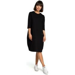 Textil Ženy Krátké šaty Be B083 Oversized šaty s přední kapsou - černé