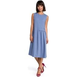 Textil Ženy Krátké šaty Be B080 Vzdušné midi šaty bez rukávů - modré