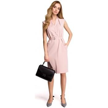 Textil Ženy Mikiny Style S102 Košilové šaty bez rukávů - pudrové
