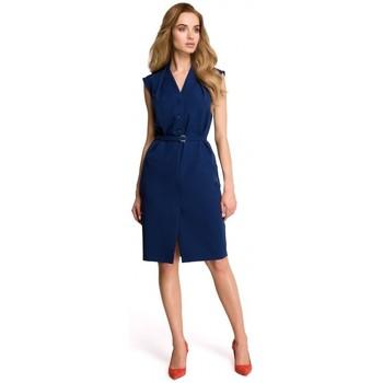 Textil Ženy Šaty Style S102 Košilové šaty bez rukávů - tmavě modré