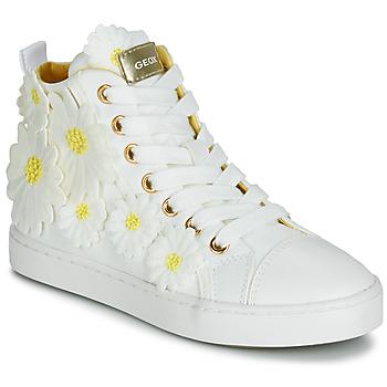 Boty Dívčí Kotníkové tenisky Geox JR CIAK GIRL Bílá / Žlutá