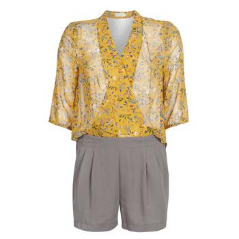 Textil Ženy Overaly / Kalhoty s laclem See U Soon GARAGALE Žlutá / Khaki