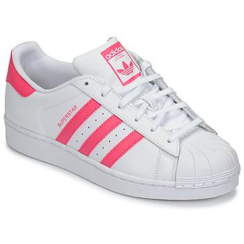 Boty Dívčí Nízké tenisky adidas Originals SUPERSTAR J Bílá / Růžová