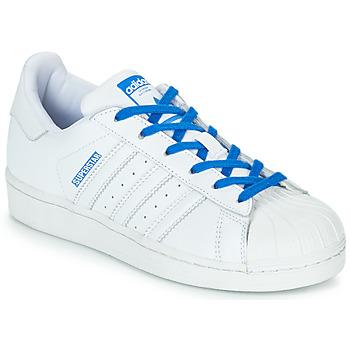 Boty Dívčí Nízké tenisky adidas Originals SUPERSTAR J Bílá / Modrá