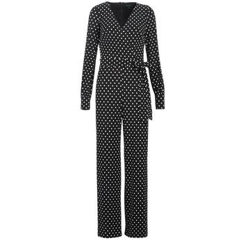 Textil Ženy Overaly / Kalhoty s laclem Lauren Ralph Lauren POLKA DOT WIDE LEG JUMPSUIT Černá / Bílá