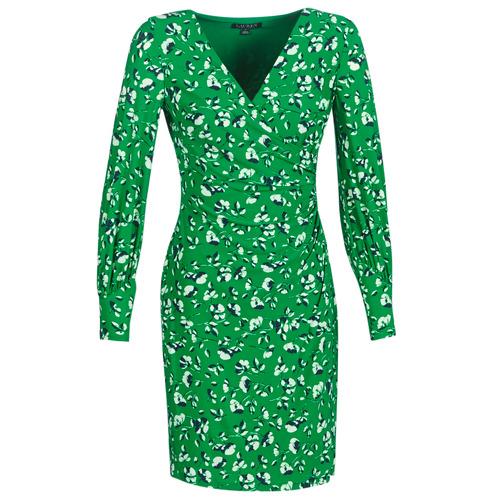 Textil Ženy Krátké šaty Lauren Ralph Lauren FLORAL PRINT-LONG SLEEVE-JERSEY DAY DRESS Zelená