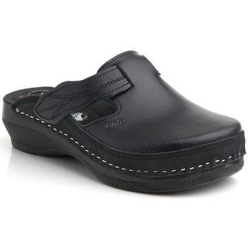 Boty Ženy Pantofle Batz Dámske kožené čierne šľapky FLOWER čierna
