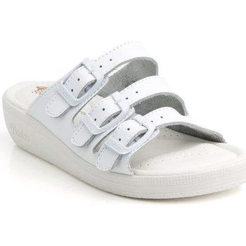 Boty Ženy Sandály Batz Dámske kožené biele šľapky 3BCS biela