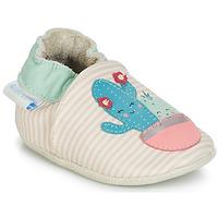 Boty Dívčí Bačkůrky pro miminka Robeez CACTUS Krémově bílá / Růžová