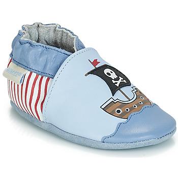 Boty Chlapecké Bačkůrky pro miminka Robeez PIRATE'S BOAT Modrá