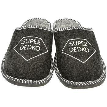 Boty Muži Papuče John-C Pánske sivé papuče DEDKO tmavosivá