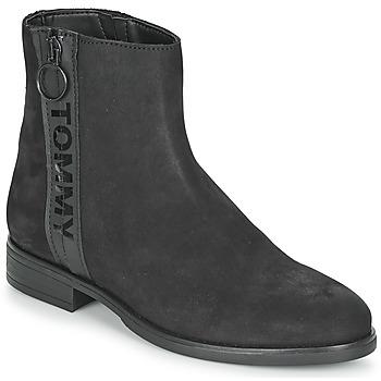 Boty Ženy Kotníkové boty Tommy Jeans TOMMY JEANS ZIP FLAT BOOT Černá