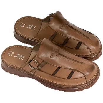 Boty Muži Pantofle John-C Pánske hnedé kožené šľapky NOEL hnedá